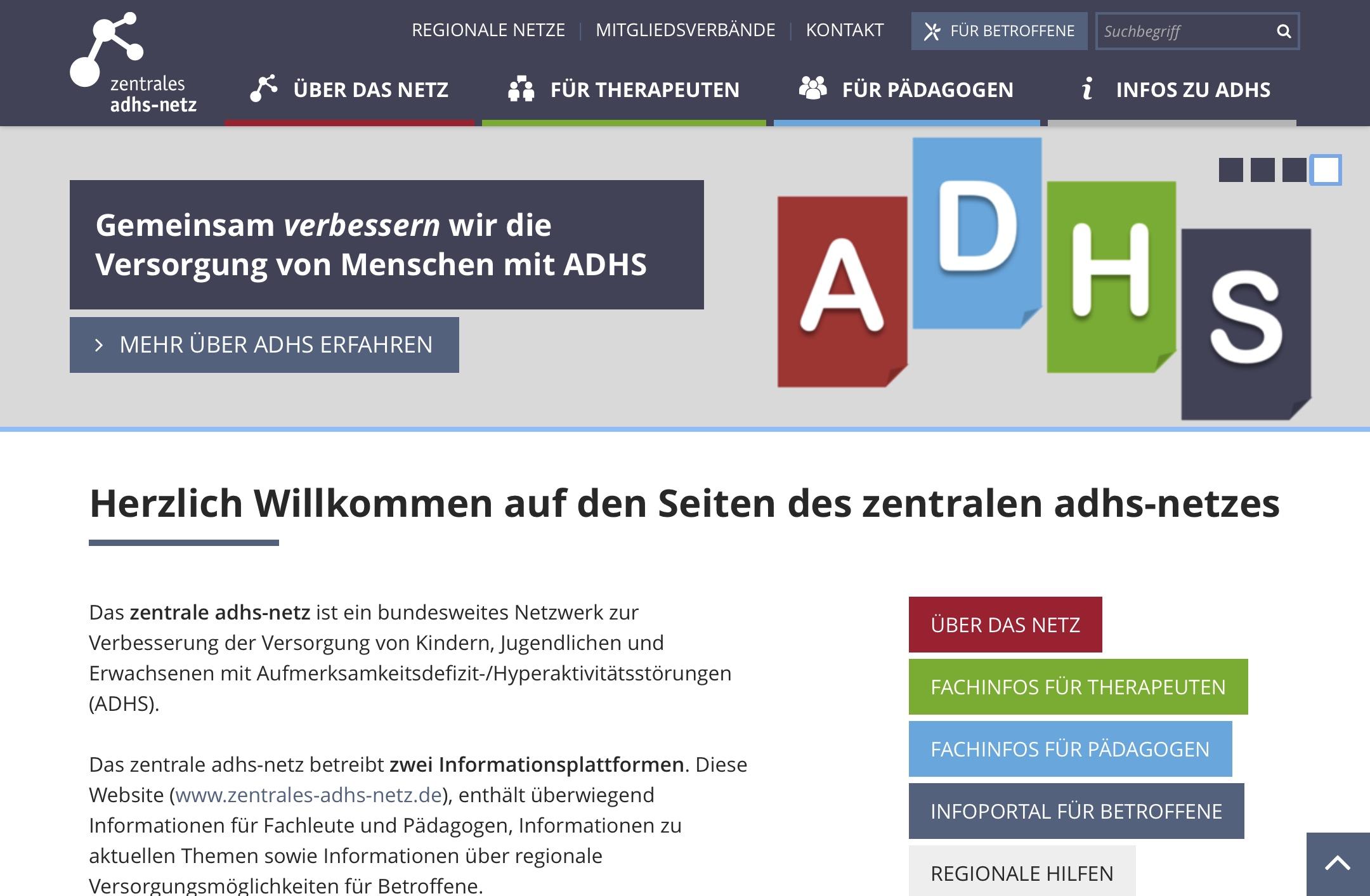 Site Web Zentrales ADHS Netz