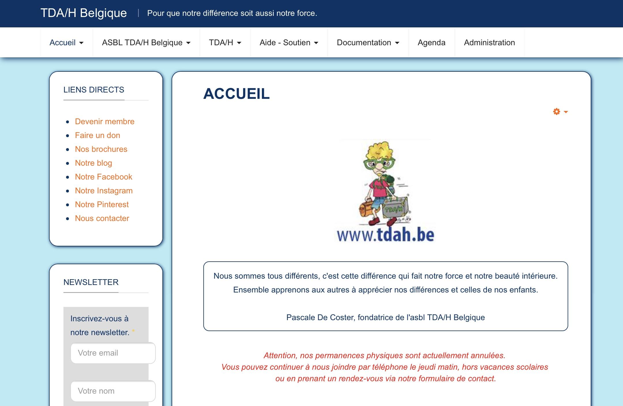 Site Web TDAH Belgique
