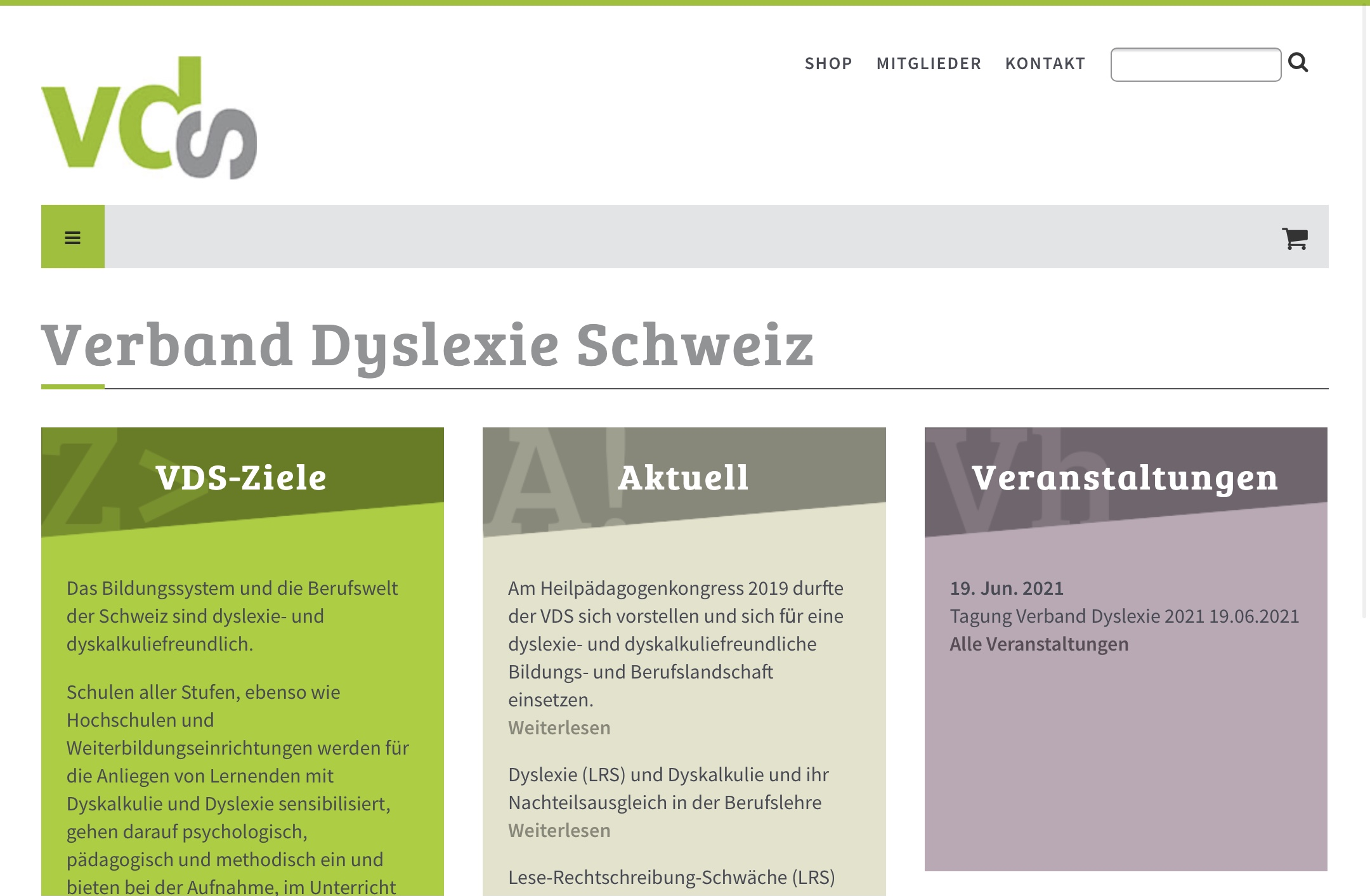 Site Web Verband Dyslexie Schweiz